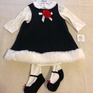 New Little Me Black Dress Top Tights Set 3M Cute